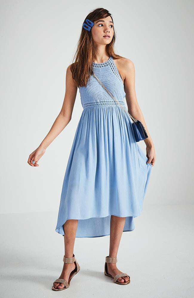 estella pastel high-low hem midi party dress