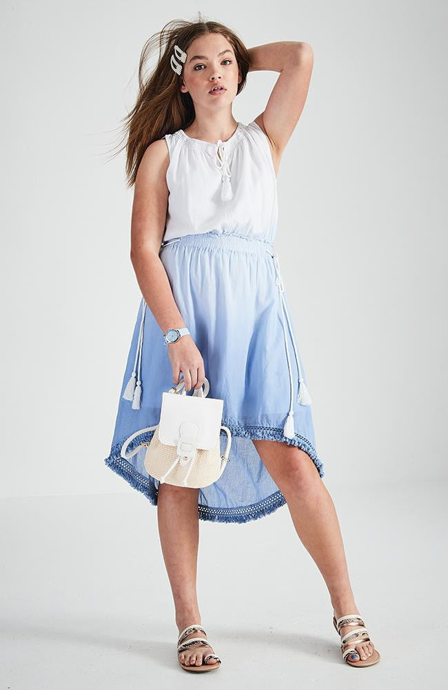 alice dip dye blue high-low hem boho dress