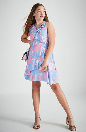 lora blue and pint floral ruffle wrap dress