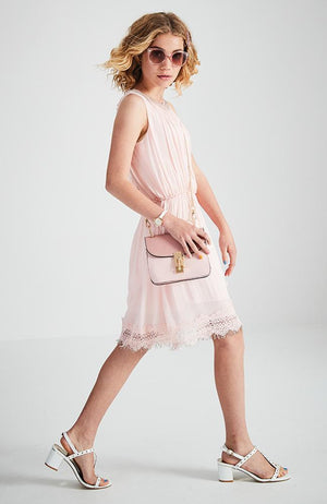 lily pale pink beaded lace trim party dress