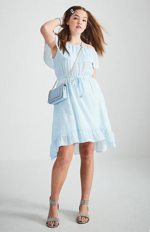 frankie pale blue and white floral off the shoulder ruffle party dress
