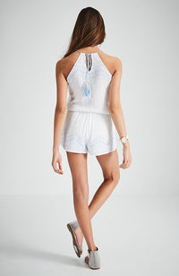 massimo blue and white beaded crinkle boho playsuit