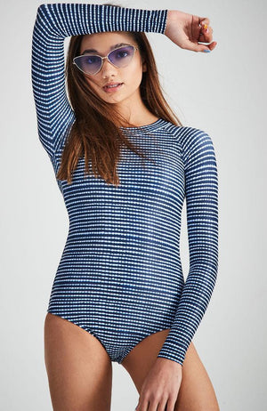 narella navy and white tie dye print long sleeve swimmer