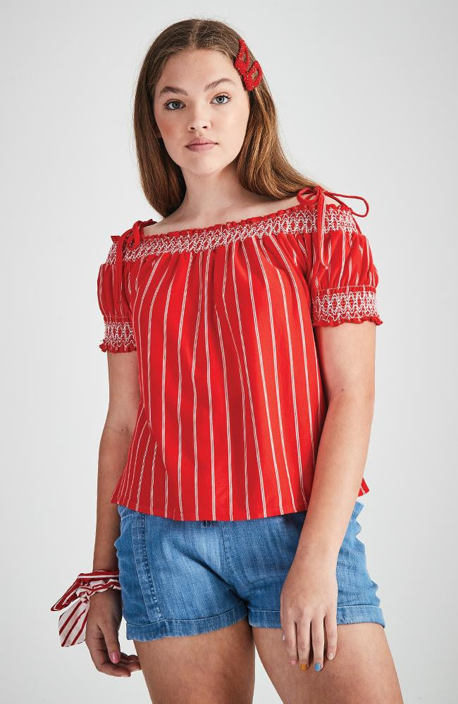 cindy striped shirred top