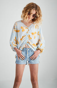 jenny light blue and yellow print ruched front boho top