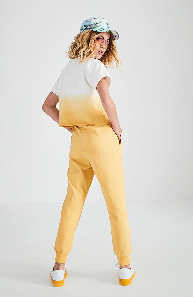 sandelle yellow washed light weight sweat pants