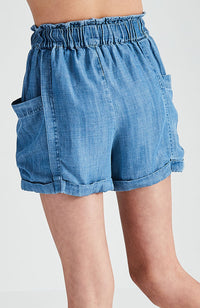talia blue chambray paper bag high waisted short