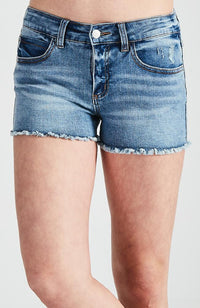 zahara mid blue heavy wash short