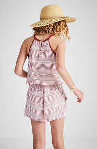 sylvia red and white boho playsuit