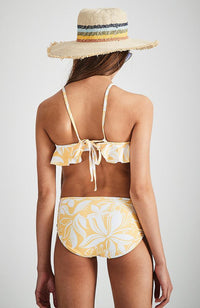 samantha yellow and white floral ruffle one piece bathers