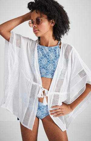 sola white lace detail beach coverup