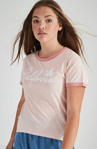 california pink vintage graphic tee