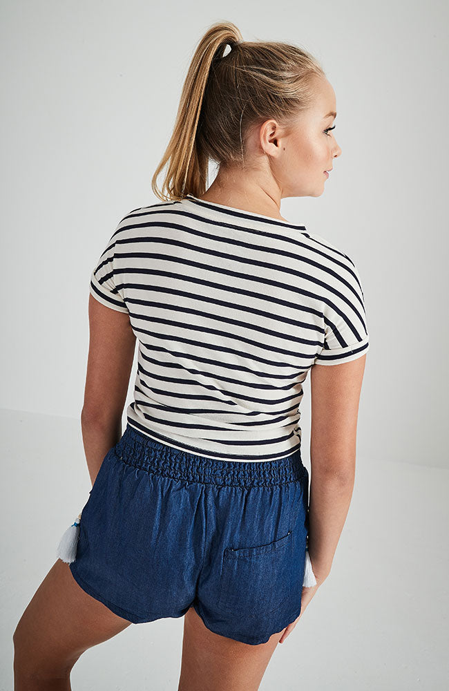 new york navy and white striped embroidered slogan crop tee