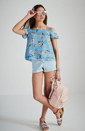 ellie blue floral off the shoulder top