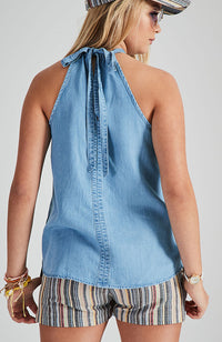 eleanor washed blue tencel denim halter top