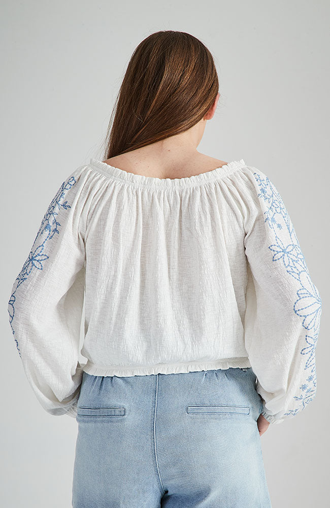 krista white peasant top