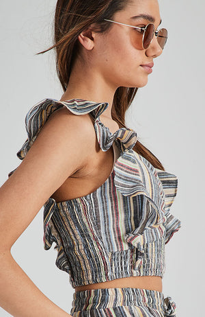 cass bahamas stripe ruffle crop top