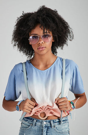 jenna blue and pink dip dye short sleeve hoop top