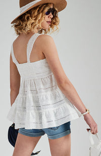 corine white lace boho top