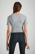 mirabelle grey marle twist front short sleeve active top