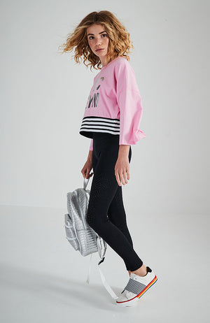 ivana pink candy striped rib slogan active top