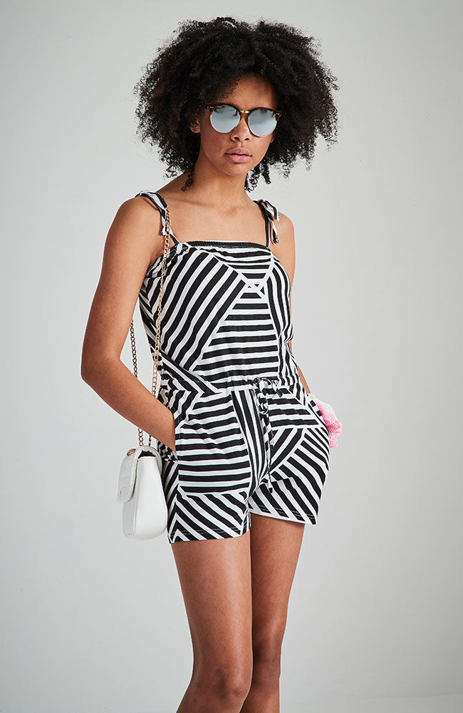 havana black and white geo stripe jersey active playsuit