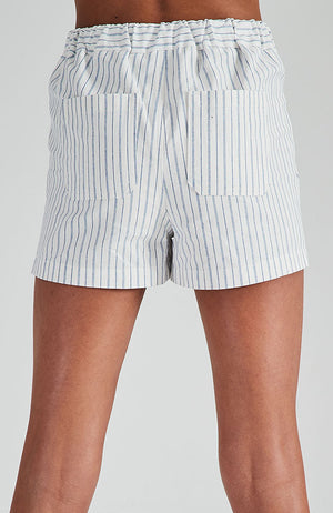 donna white and blue pin stripe short