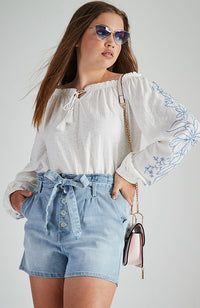 vienna mid blue washed high waisted paper bag denim short