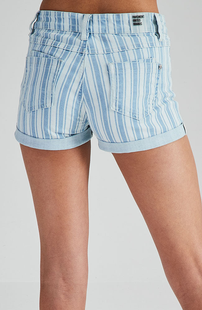 pamela blue striped high waisted cuffed denim short