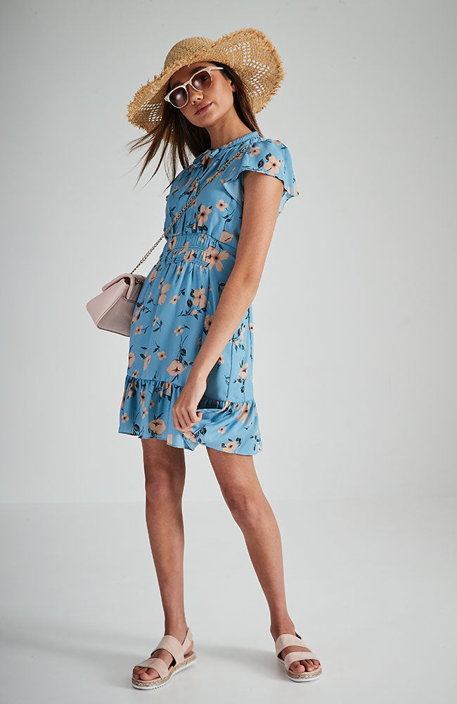 joy blue floral ruffle short sleeve party dress