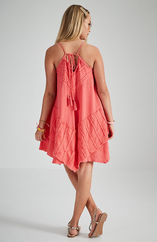 tenille pink strappy boho dress