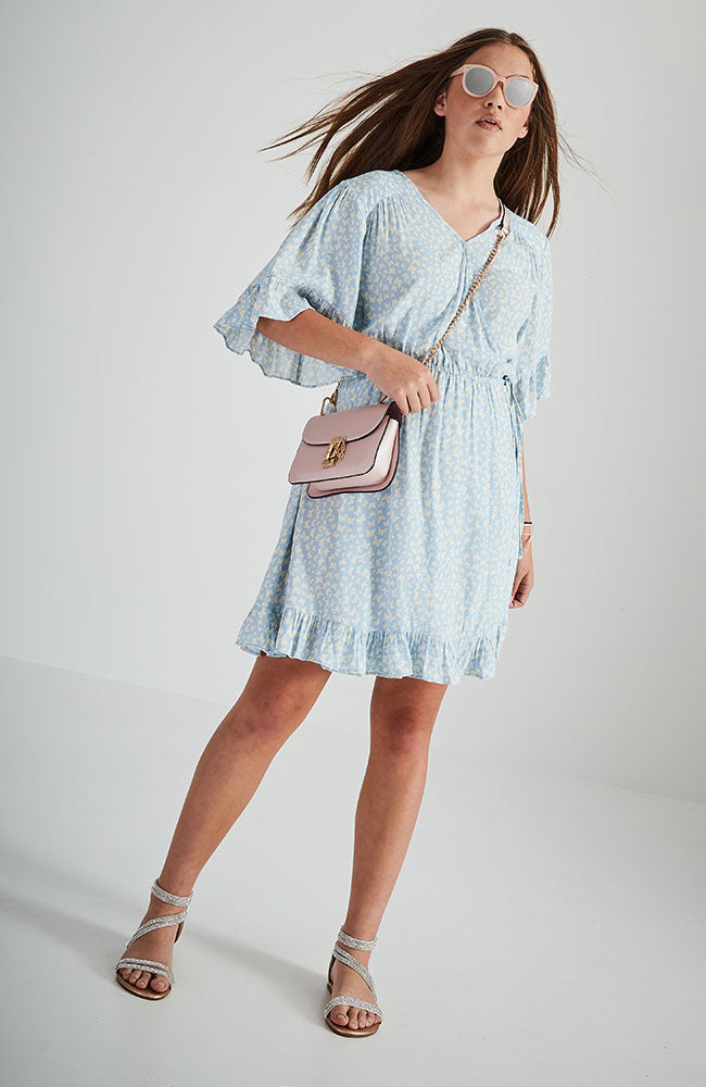 brianne light blue butterfly print ruffle wrap dress