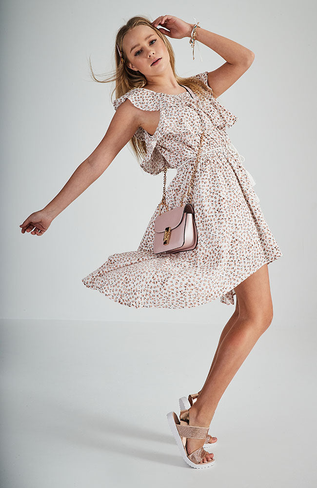 francesca pink floral ruffle high low hem dress