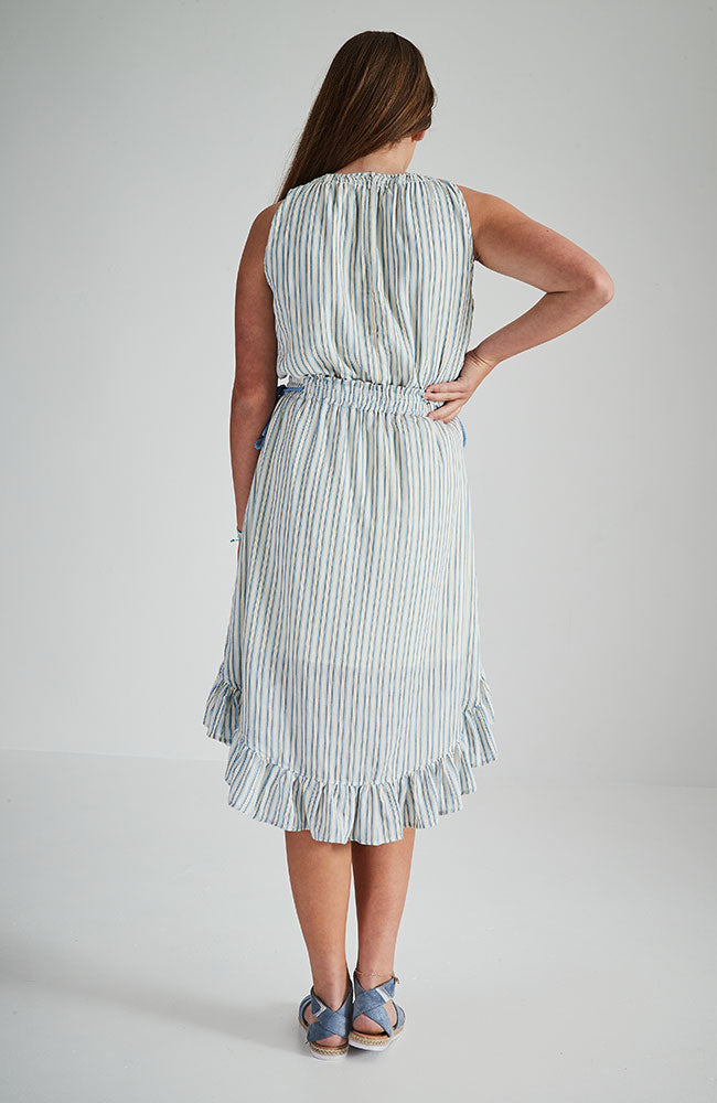 alice maldives weave blue strip tassel boho dress