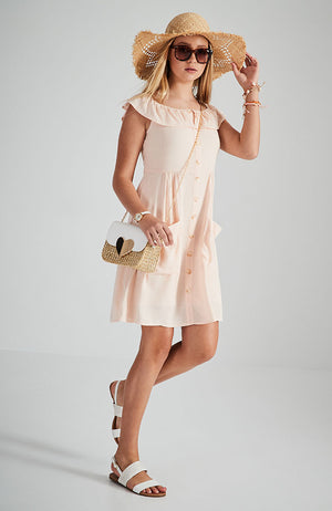 winona pastel pink button front dress