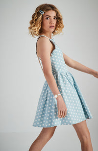 katie blue and cream polka dot party dress
