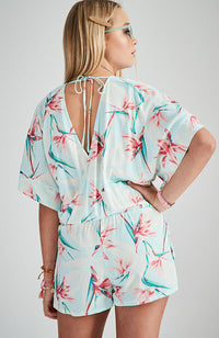 milo blue and pink floral kimono playsuit