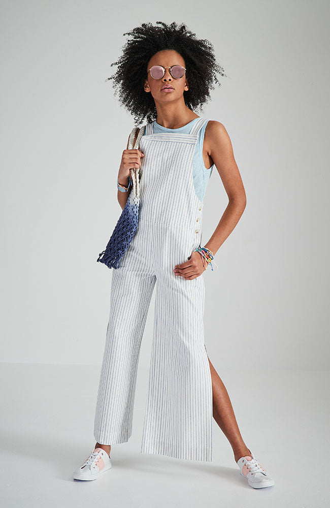 indiana white and blue pin stripe fashion overall