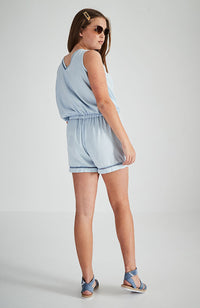 aminah blue wrap lace detail boho playsuit