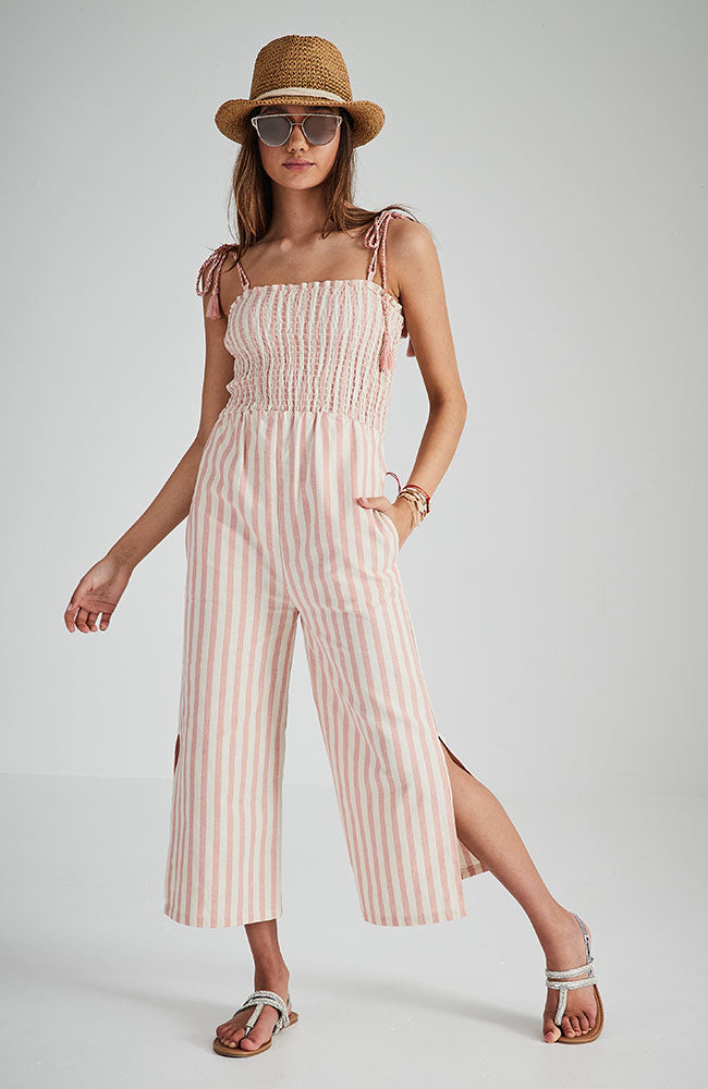 doreen pink striped shirred 3/4 jumpsuit