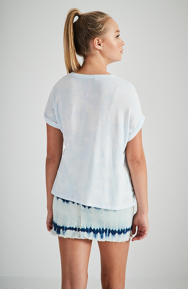 paradise pale blue cloud tie dye tee