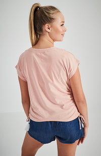 huntington beach pink ruched slogan tee