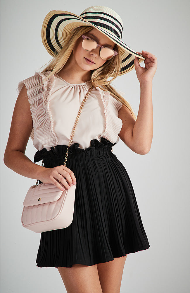 jacinta pink pleated ruffled sleeveless party top