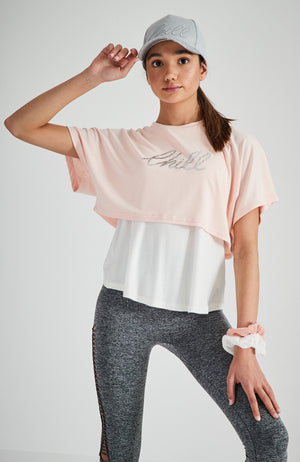 stefania pink double layer chill slogan active top