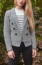 cara black and white ponte double breasted party blazer