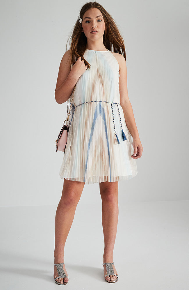 paula diagonal striped pleated mdi party dress