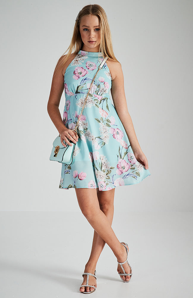 athena pink floral halter party dress