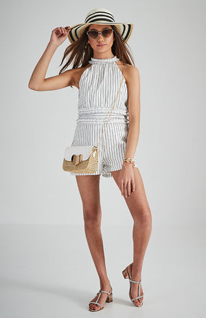 michelina white and black striped and ruffled halter party playsuit