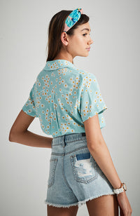 margherita blue green daisy print tie front girls shirt