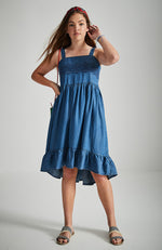 melissa blue embroidered shirred high low ruffle girls boho dress